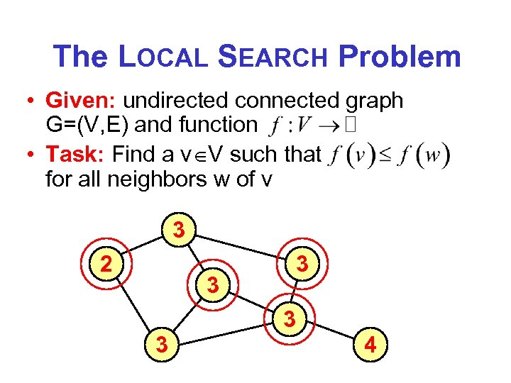 The LOCAL SEARCH Problem • Given: undirected connected graph G=(V, E) and function •
