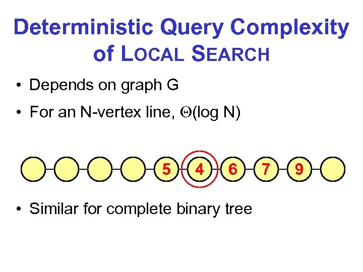 Deterministic Query Complexity of LOCAL SEARCH • Depends on graph G • For an
