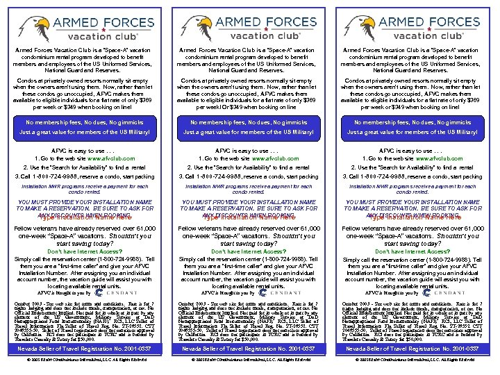 """Armed Forces Vacation Club is a """"Space-A"""" vacation condominium rental program developed to benefit"""