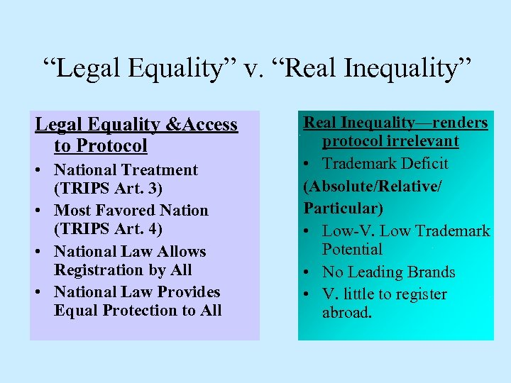 """""""Legal Equality"""" v. """"Real Inequality"""" Legal Equality &Access to Protocol • National Treatment (TRIPS"""