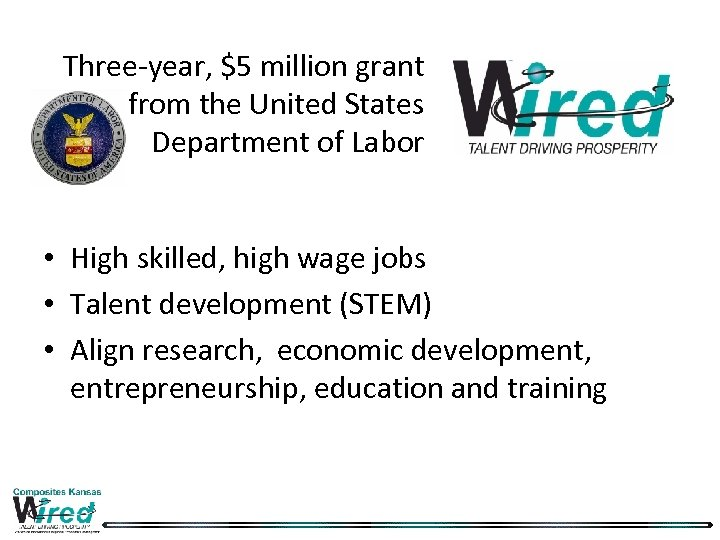 Three-year, $5 million grant from the United States Department of Labor • High skilled,
