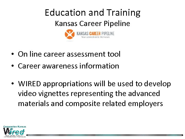 Education and Training Kansas Career Pipeline • On line career assessment tool • Career