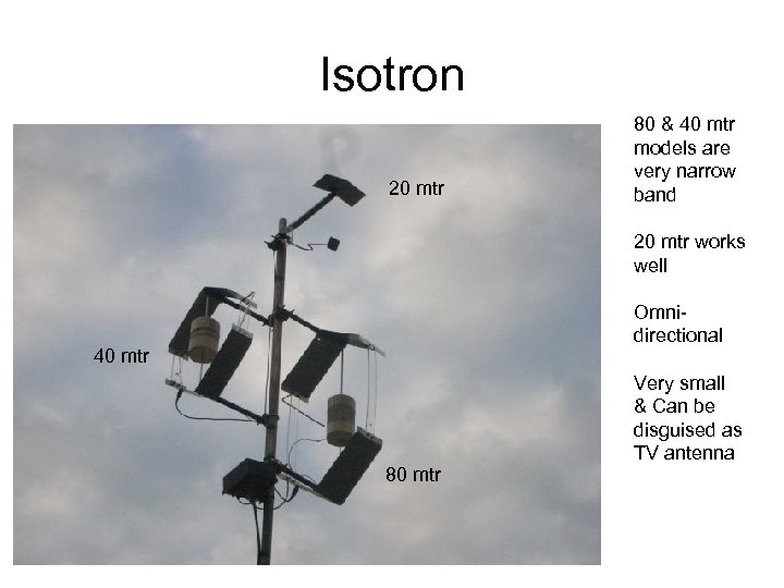 Isotron 20 mtr 80 & 40 mtr models are very narrow band 20 mtr