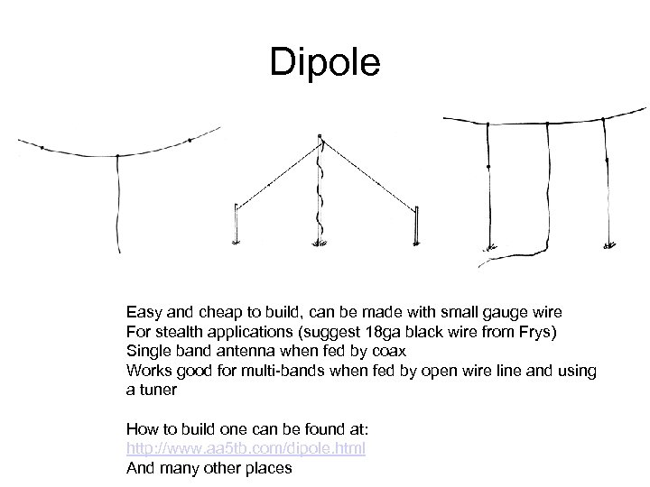 Dipole Easy and cheap to build, can be made with small gauge wire For