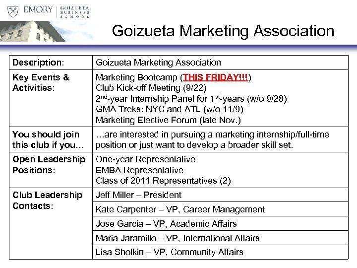 Goizueta Marketing Association Description: Goizueta Marketing Association Key Events & Activities: Marketing Bootcamp (THIS