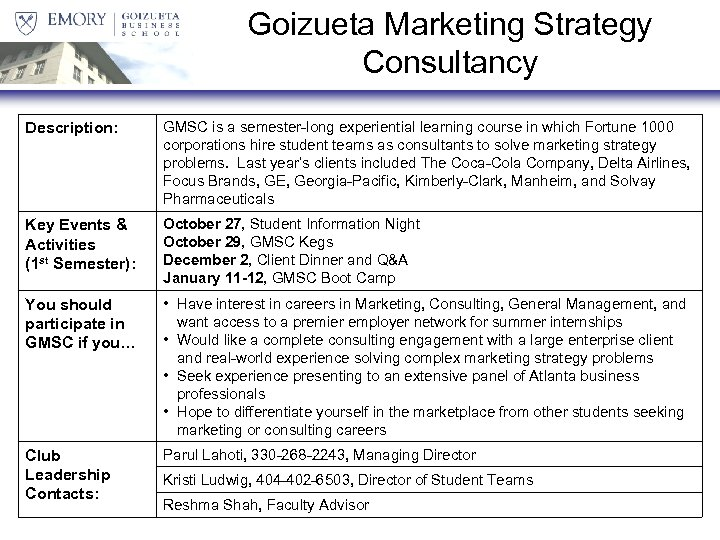 Goizueta Marketing Strategy Consultancy Description: GMSC is a semester-long experiential learning course in which