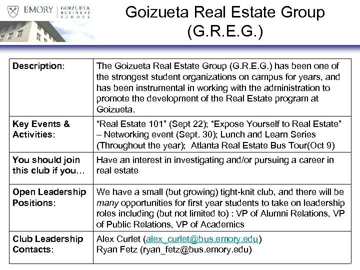 Goizueta Real Estate Group (G. R. E. G. ) Description: The Goizueta Real Estate