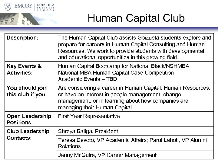 Human Capital Club Description: The Human Capital Club assists Goizueta students explore and prepare