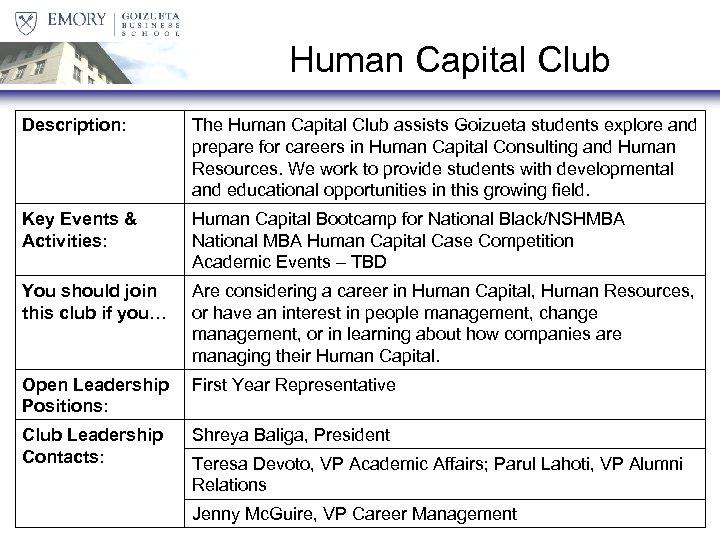 Human Capital Club Description: The Human Capital Club assists Goizueta students explore and prepare