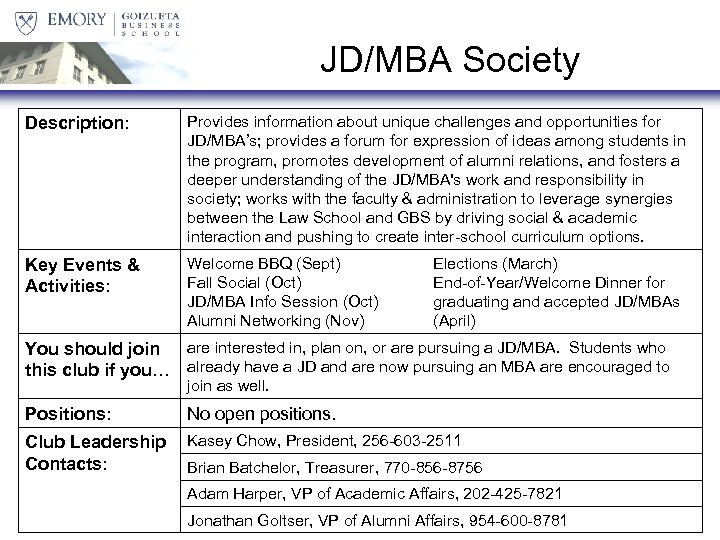 JD/MBA Society Description: Provides information about unique challenges and opportunities for JD/MBA's; provides a