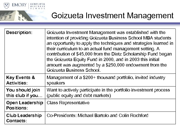 Goizueta Investment Management Description: Goizueta Investment Management was established with the intention of providing