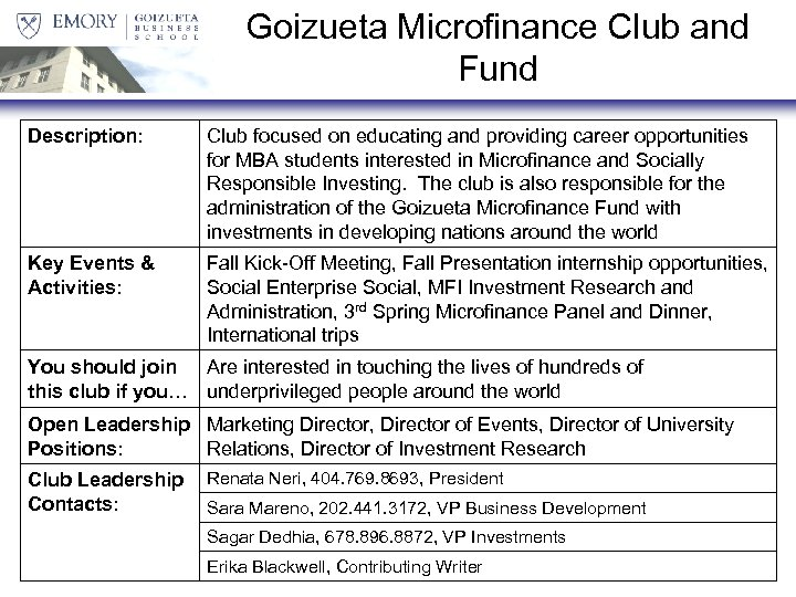 Goizueta Microfinance Club and Fund Description: Club focused on educating and providing career opportunities