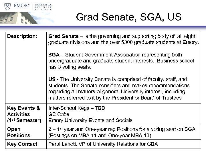 Grad Senate, SGA, US Description: Grad Senate – is the governing and supporting body