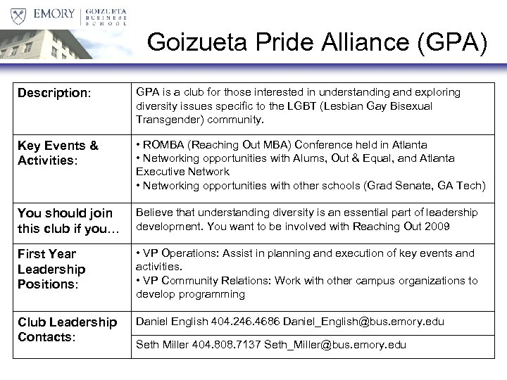Goizueta Pride Alliance (GPA) Description: GPA is a club for those interested in understanding