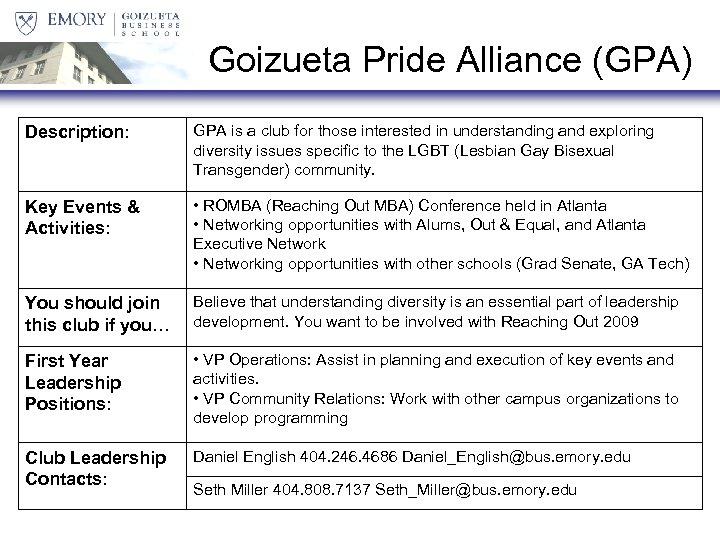 Goizueta Pride Alliance (GPA) Description: GPA is a club for those interested in understanding