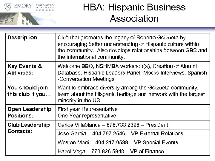 HBA: Hispanic Business Association Description: Club that promotes the legacy of Roberto Goizueta by