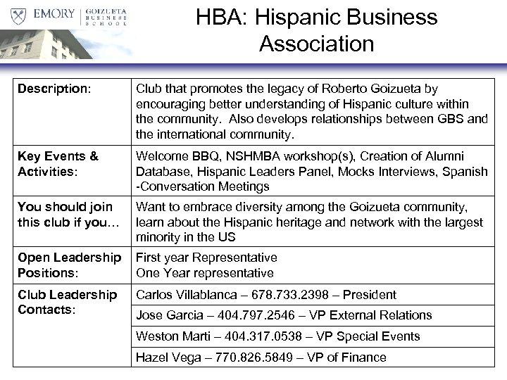 HBA: Hispanic Business Association Description: Club that promotes the legacy of Roberto Goizueta by