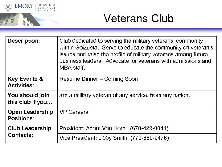 Veterans Club Description: Club dedicated to serving the military veterans' community within Goizueta. Serve