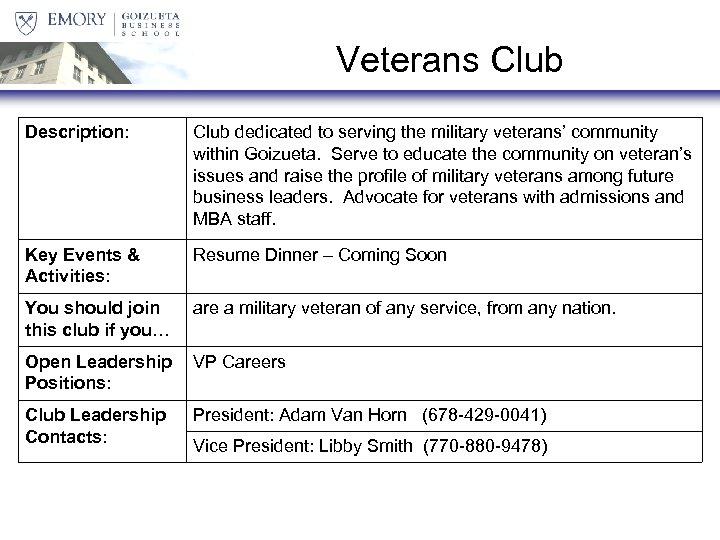 Veterans Club Description: Club dedicated to serving the military veterans' community within Goizueta. Serve
