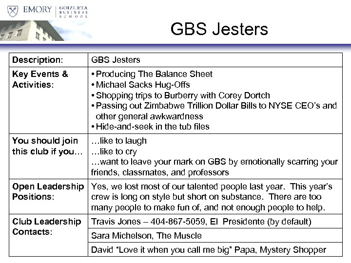 GBS Jesters Description: GBS Jesters Key Events & Activities: • Producing The Balance Sheet