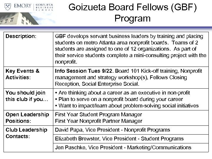 Goizueta Board Fellows (GBF) Program Description: GBF develops servant business leaders by training and