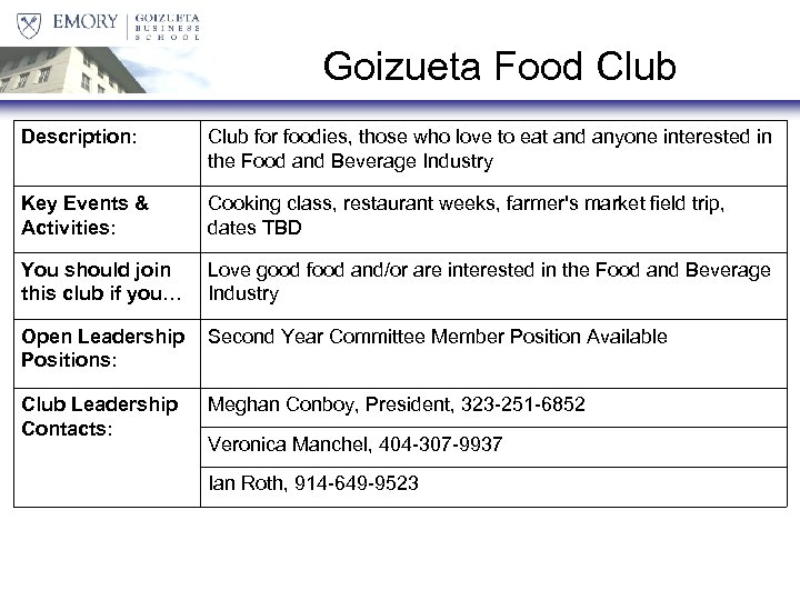 Goizueta Food Club Description: Club for foodies, those who love to eat and anyone