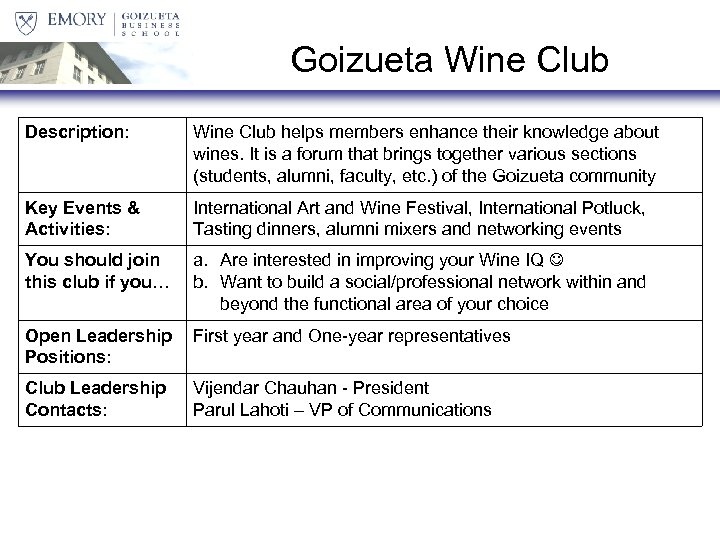 Goizueta Wine Club Description: Wine Club helps members enhance their knowledge about wines. It