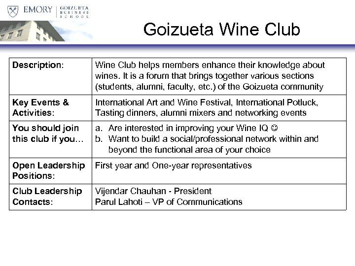 Goizueta Wine Club Description: Wine Club helps members enhance their knowledge about wines. It