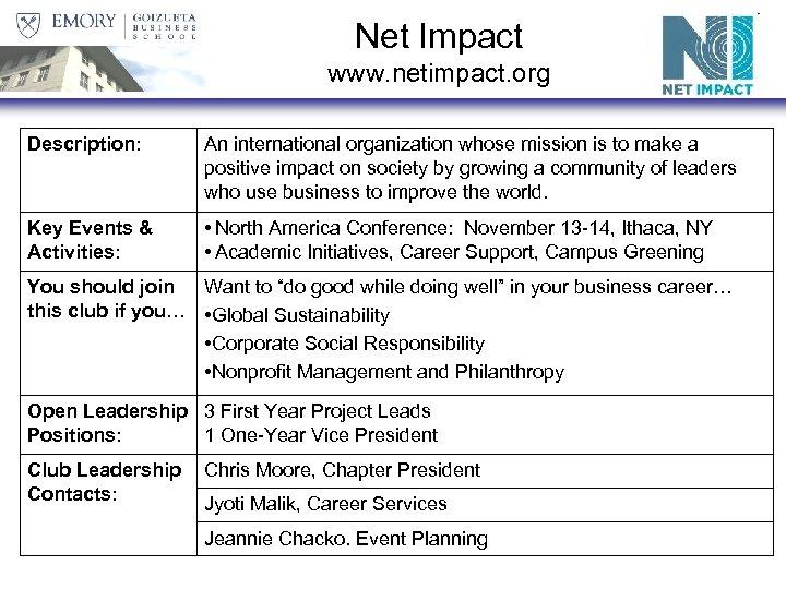 Net Impact www. netimpact. org Description: An international organization whose mission is to make