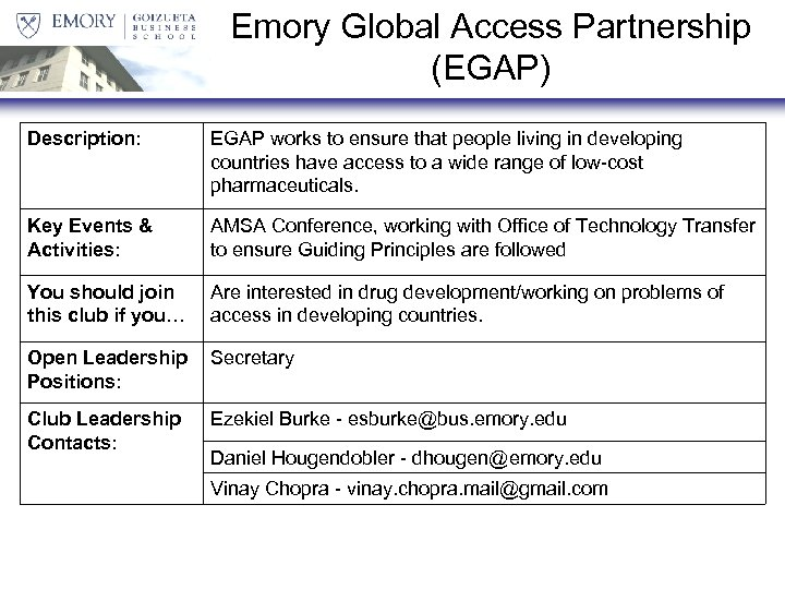 Emory Global Access Partnership (EGAP) Description: EGAP works to ensure that people living in