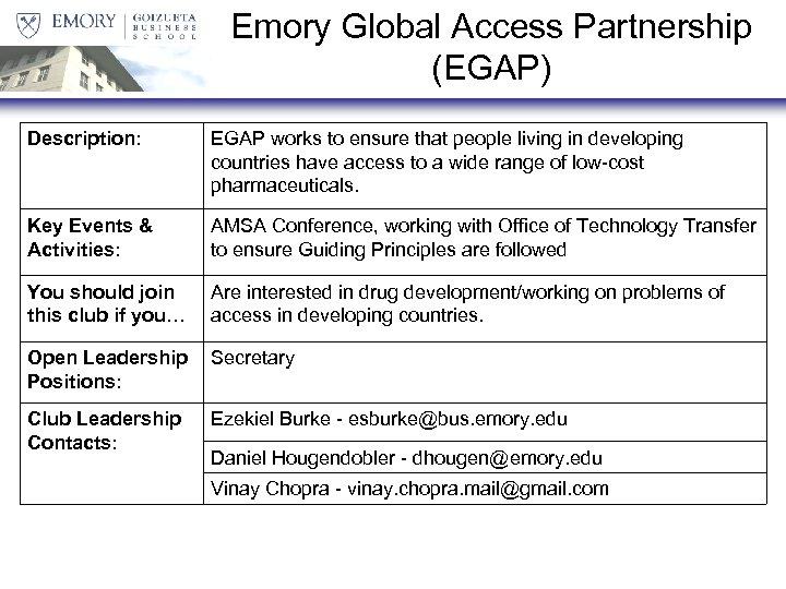 Emory Global Access Partnership (EGAP) Description: EGAP works to ensure that people living in
