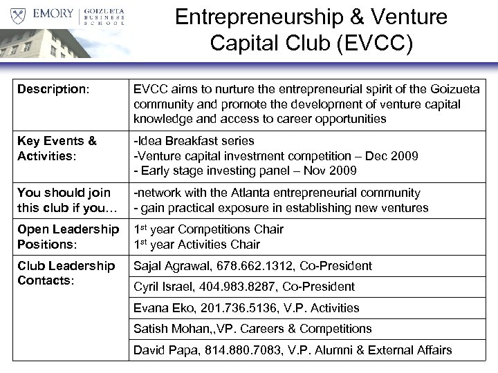 Entrepreneurship & Venture Capital Club (EVCC) Description: EVCC aims to nurture the entrepreneurial spirit