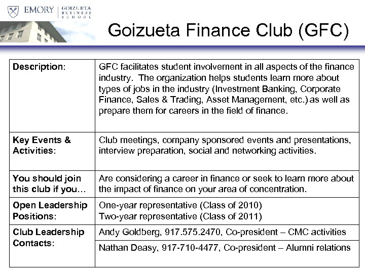 Goizueta Finance Club (GFC) Description: GFC facilitates student involvement in all aspects of the