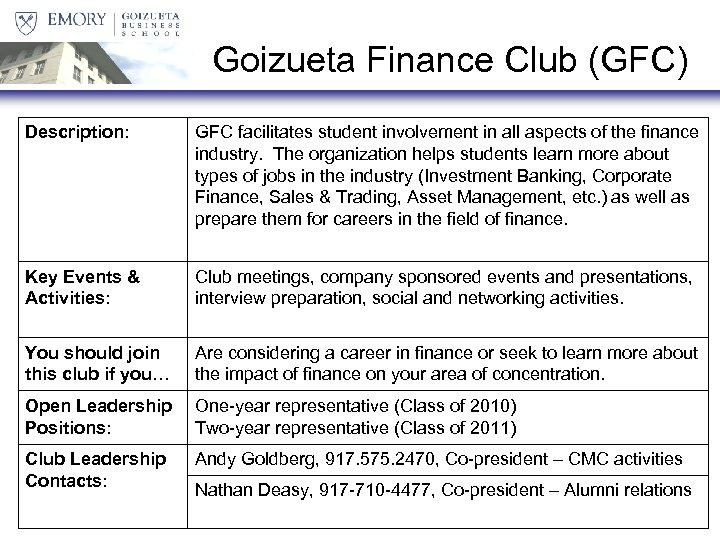 Goizueta Finance Club (GFC) Description: GFC facilitates student involvement in all aspects of the