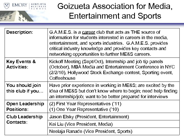 Goizueta Association for Media, Entertainment and Sports Description: G. A. M. E. S. is
