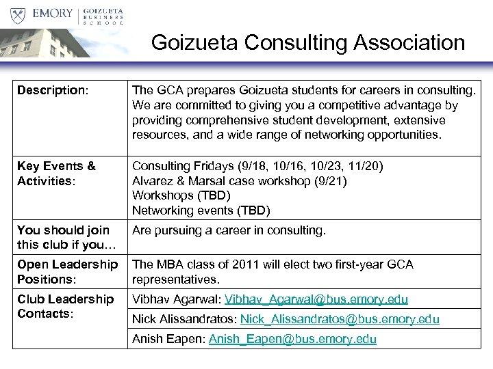 Goizueta Consulting Association Description: The GCA prepares Goizueta students for careers in consulting. We