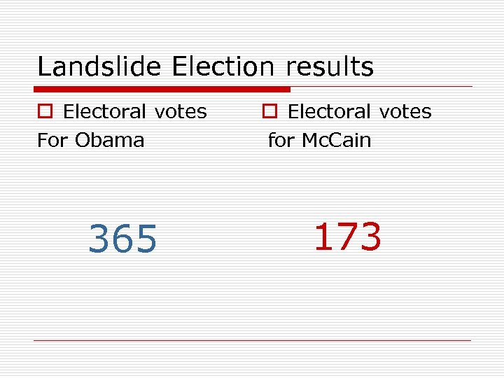 Landslide Election results o Electoral votes For Obama o Electoral votes for Mc. Cain