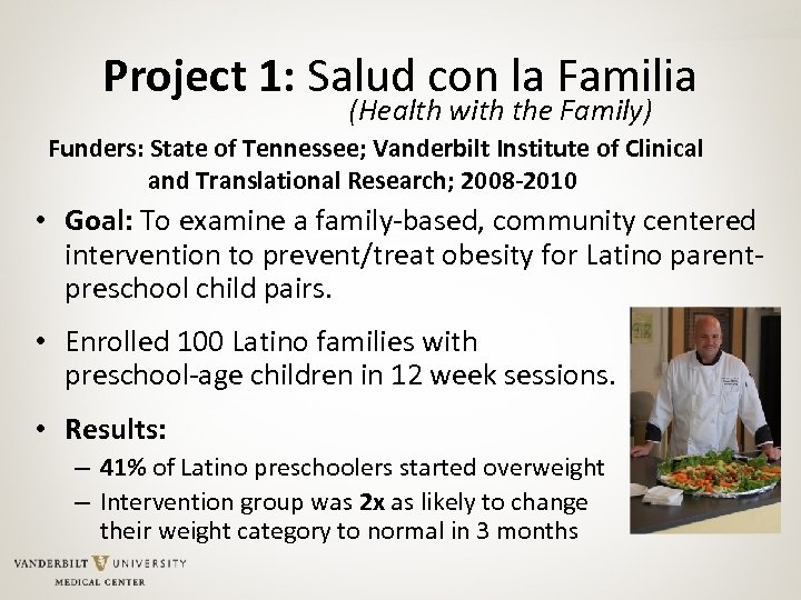 Project 1: Salud con la Familia (Health with the Family) Funders: State of Tennessee;