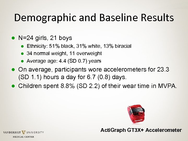 Demographic and Baseline Results ● N=24 girls, 21 boys ● Ethnicity: 51% black, 31%