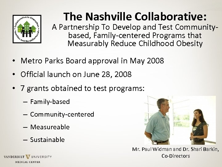 The Nashville Collaborative: A Partnership To Develop and Test Communitybased, Family-centered Programs that Measurably