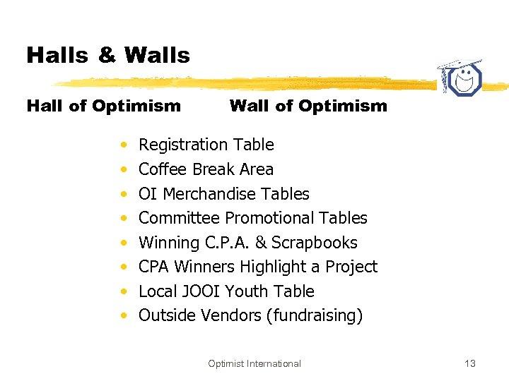 Halls & Walls Hall of Optimism • • Wall of Optimism Registration Table Coffee