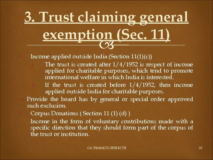 3. Trust claiming general exemption (Sec. 11) C. Income applied outside India (Section 11(1)(c))