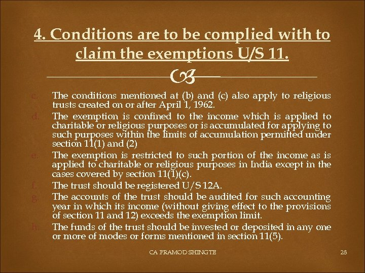 4. Conditions are to be complied with to claim the exemptions U/S 11. c.