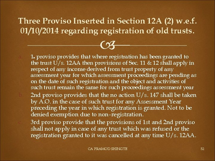 Three Proviso Inserted in Section 12 A (2) w. e. f. 01/10/2014 regarding registration