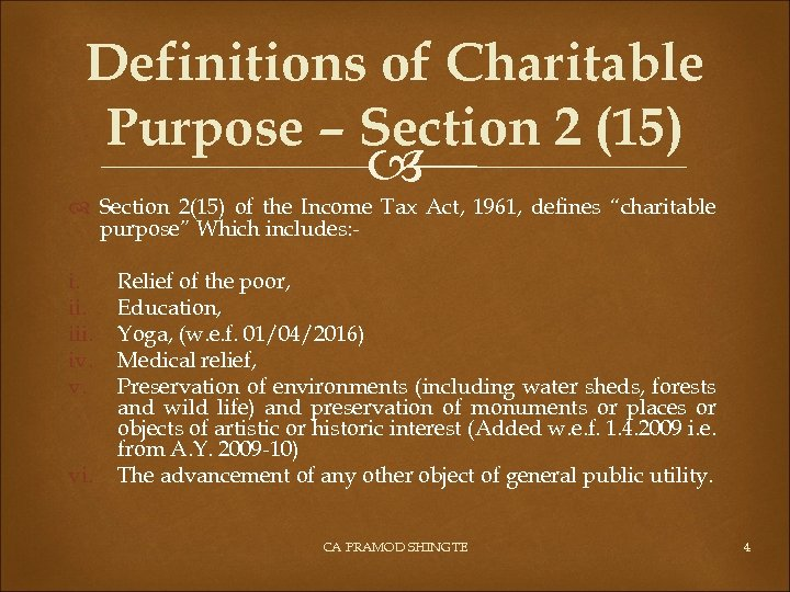 Definitions of Charitable Purpose – Section 2 (15) Section 2(15) of the Income Tax