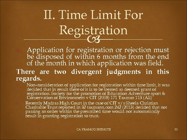 II. Time Limit For Registration a. Application for registration or rejection must be disposed