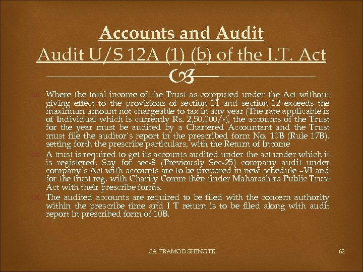 Accounts and Audit U/S 12 A (1) (b) of the I. T. Act Where