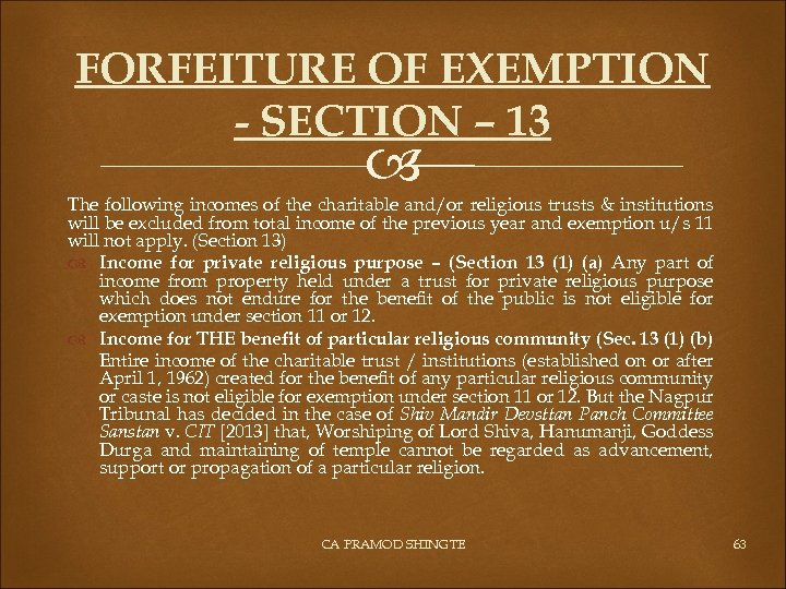 FORFEITURE OF EXEMPTION - SECTION – 13 The following incomes of the charitable and/or