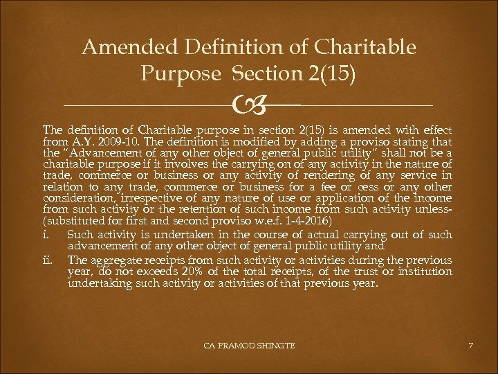 Amended Definition of Charitable Purpose Section 2(15) The definition of Charitable purpose in section