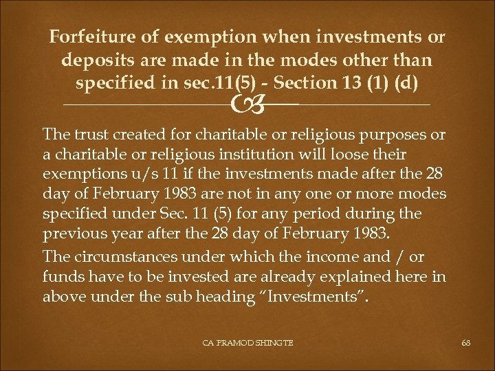 Forfeiture of exemption when investments or deposits are made in the modes other than